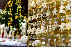 Traditional Christmas market with handmade souvenirs, Andlau, Alsace, France